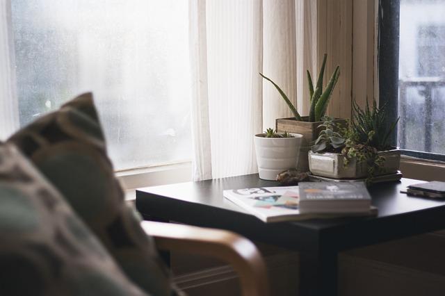 Kreslo a stolík s kvetmi pri okne